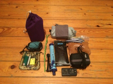 Waterproof case, camera, adapters, water purifiers, first aid, ultralight towel.